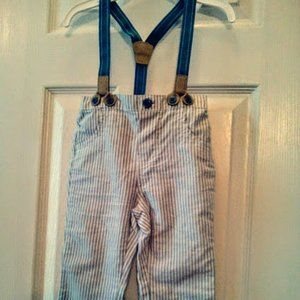Darling NWOT Cat&Jack Suspender Striped Pant 18mos